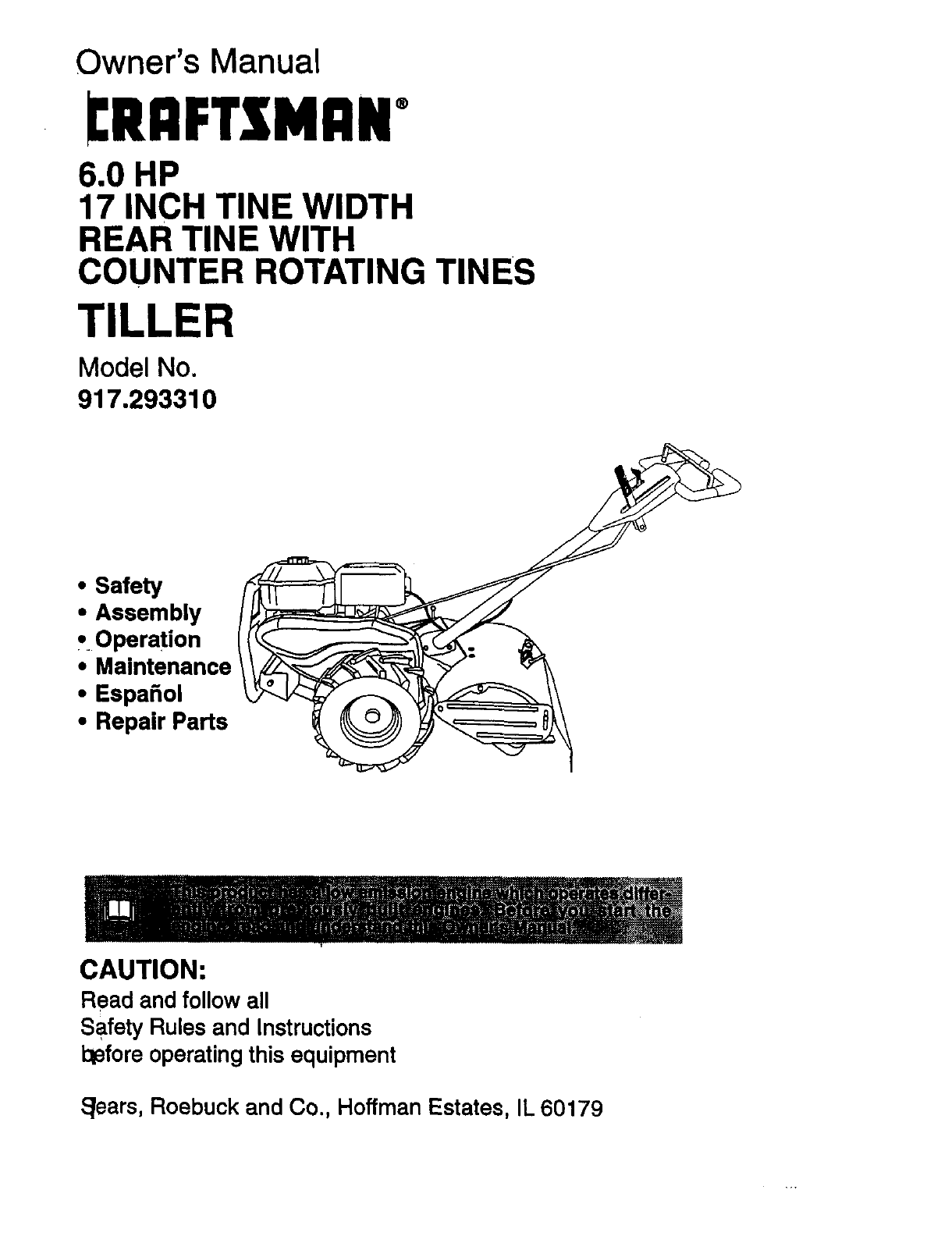 Craftsman 917293310 User Manual Tiller Manuals And Guides