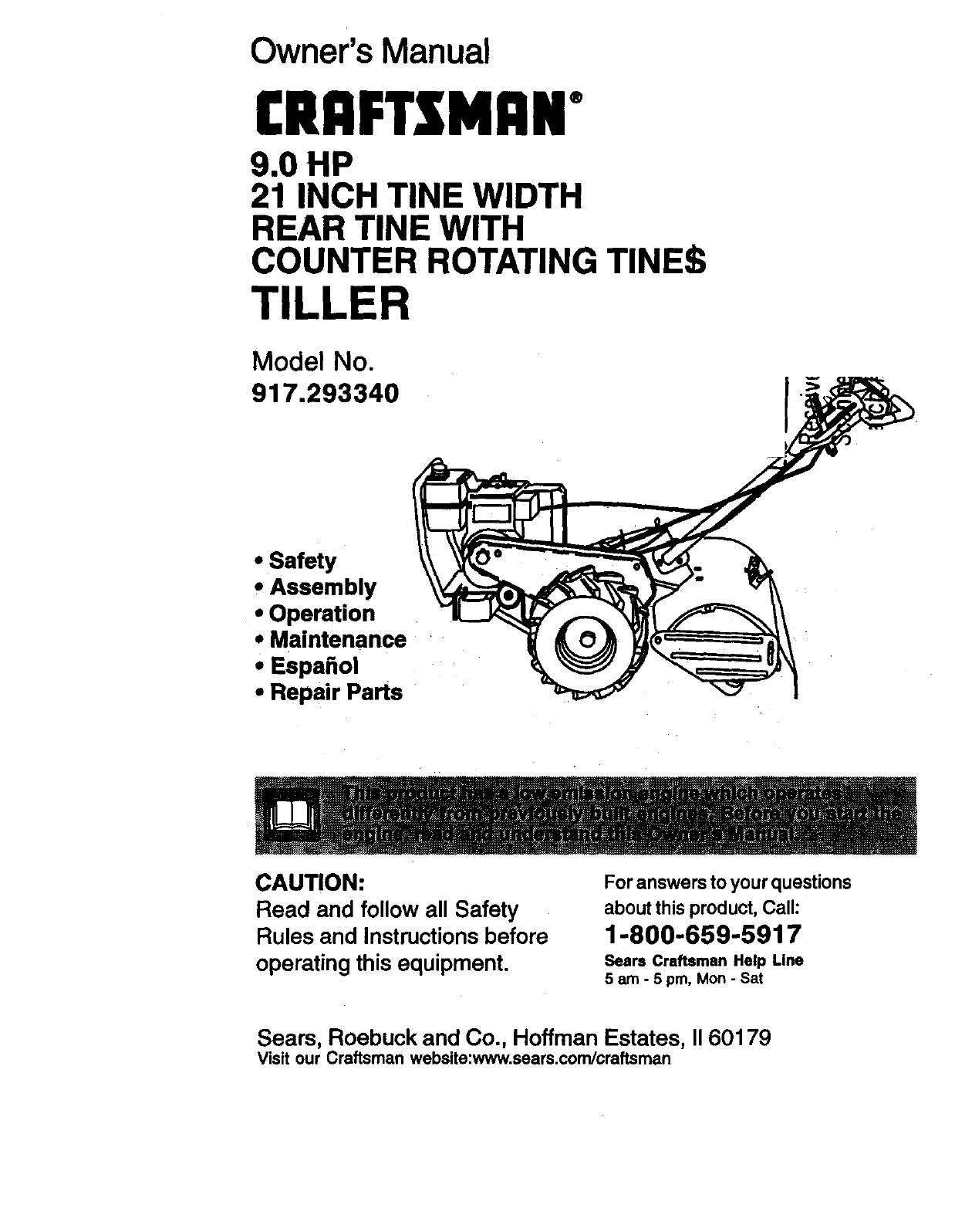 Craftsman 917293340 User Manual 9 0hp Rear Tine Tiller