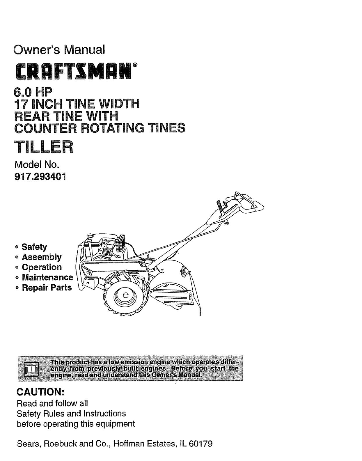 Craftsman 917293401 User Manual Rear Tine Tiller Manuals And