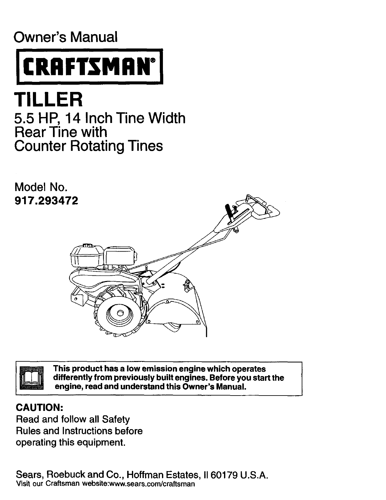 Craftsman 917293472 User Manual Rear Tine Tiller Manuals And Guides Engine Diagram L0203192