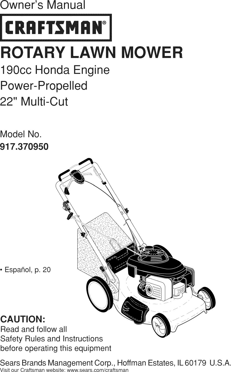 Craftsman 917370950 1112601l User Manual Mower Manuals And Guides 190cc Engine Diagram Scroll Down To View The Document On Your Mobile Browser