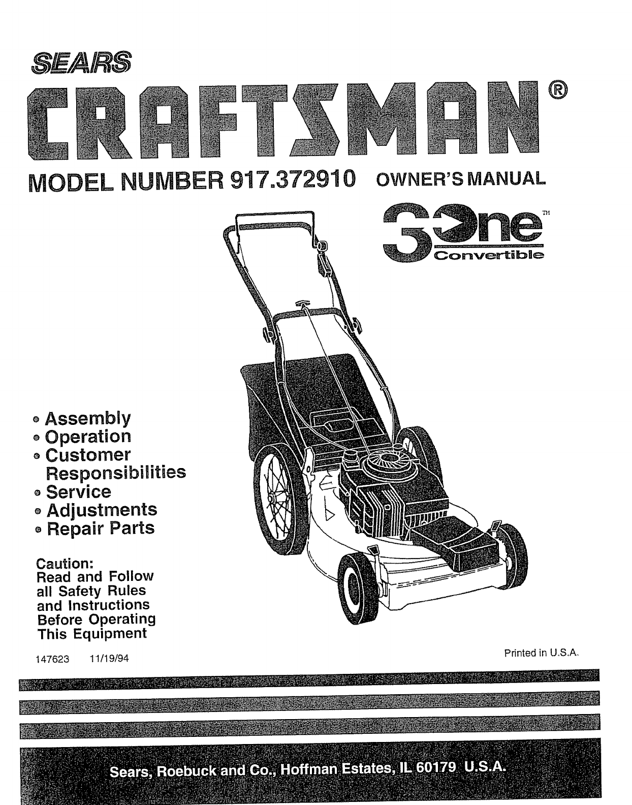 Craftsman 917372910 User Manual Lawn Mower Manuals And Guides L0805085 Engine Diagram Parts List For Walkbehindlawnmower