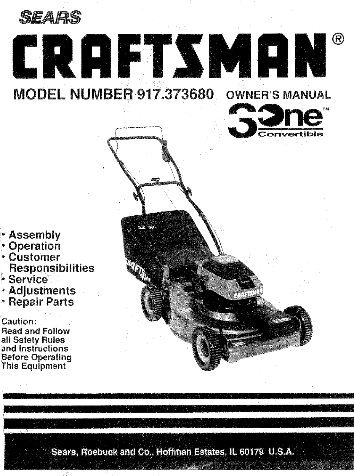 craftsman 917373680 user manual lawn mower manuals and guides l0805376