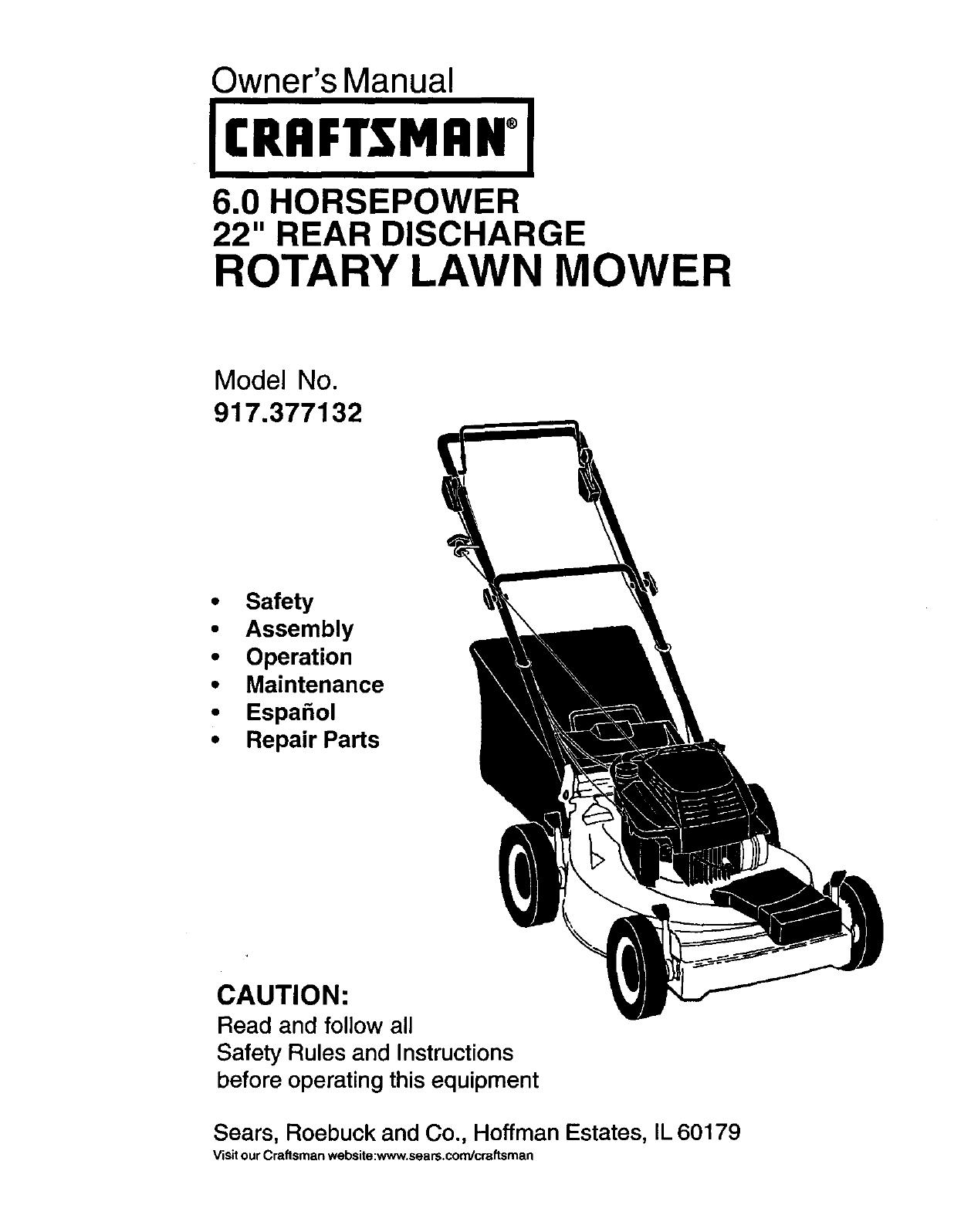 Craftsman 60 Lawn Mower Engine Diagram And Parts List For Walkbehindlawnmower 917377132 User Manual Gas Walk Behind Lawnmower Manuals Rh Usermanual Wiki Wont Stay Ru