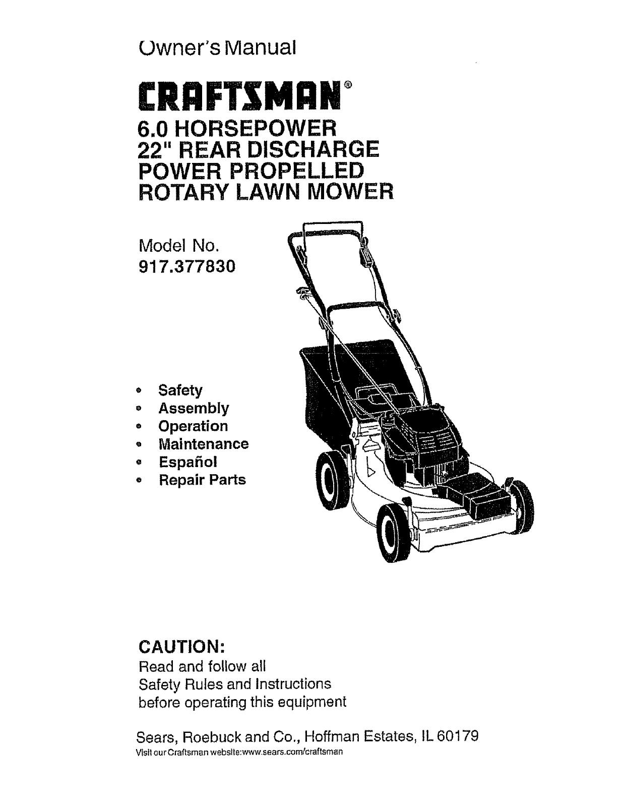 craftsman 917377830 user manual gas walk behind lawnmower manuals rh usermanual wiki craftsman 875 series lawn mower parts craftsman 875 series lawn mower parts