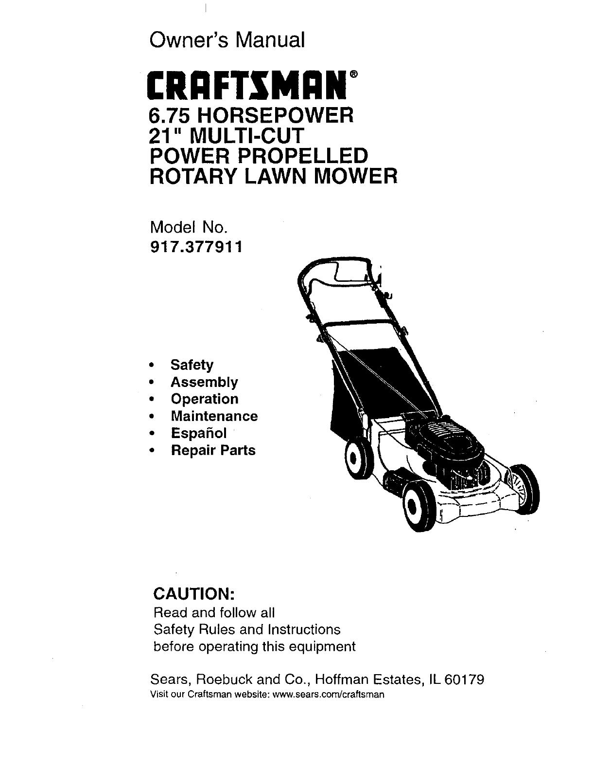 Craftsman 917377911 User Manual 6 75hp 21 Rotary Lawn Mower