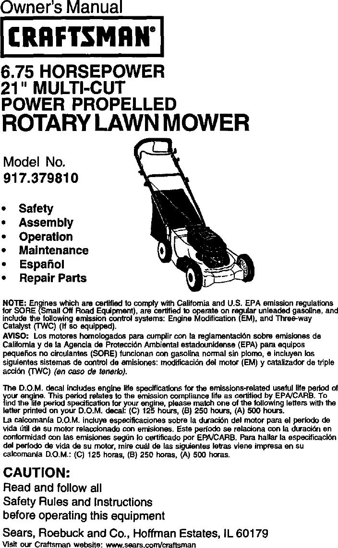 craftsman 917379810 user manual gas walk behind lawnmower manuals