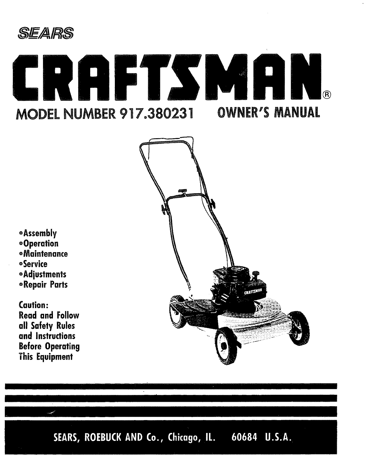 Craftsman 917380231 User Manual Lawn Mower Manuals And Guides 1006755l