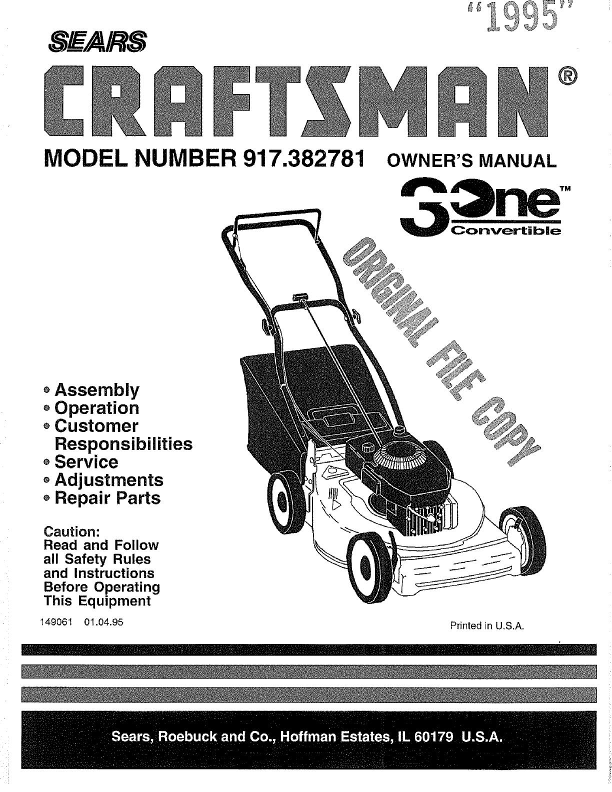 craftsman 917382781 user manual lawn mower manuals and guides l0707209