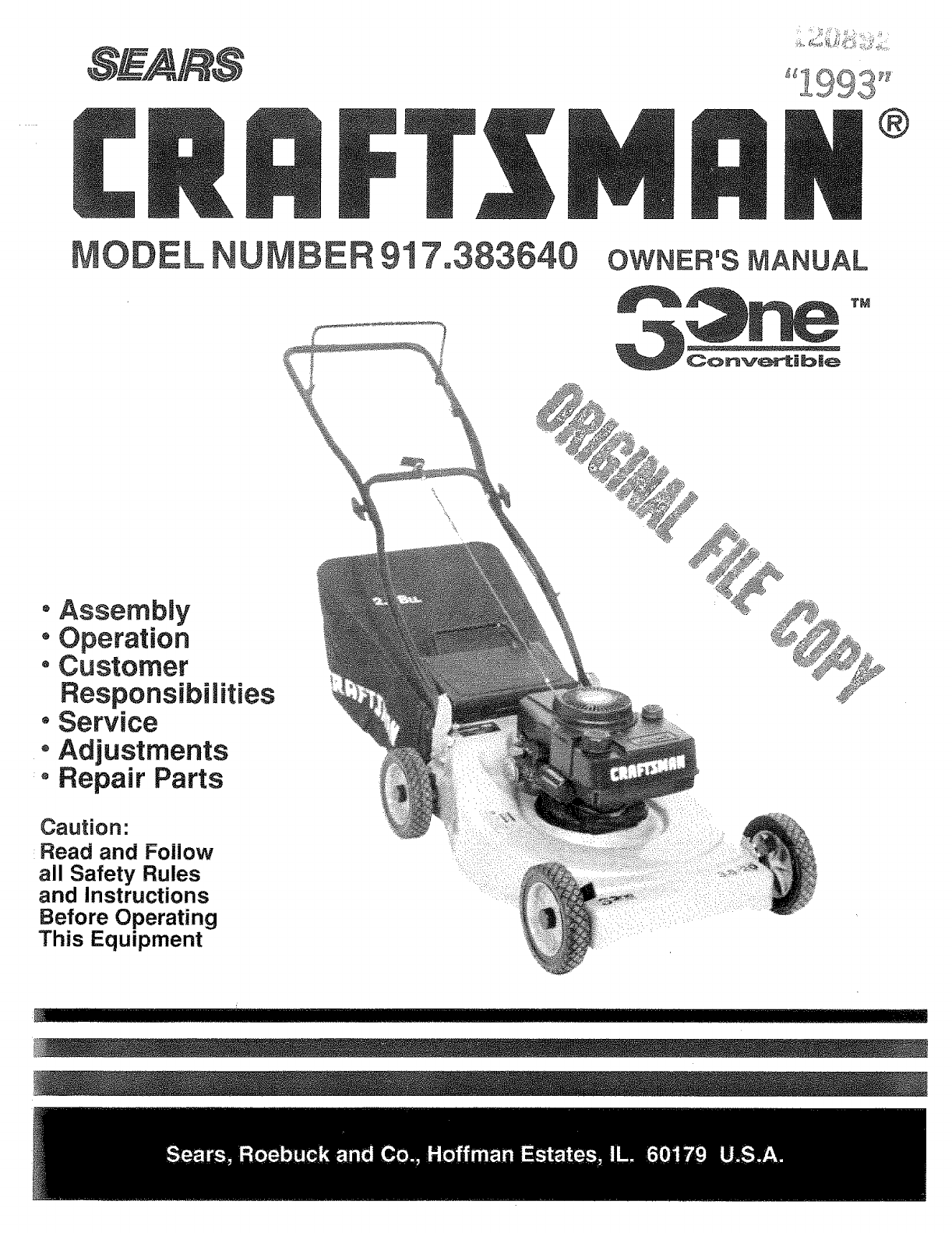 craftsman 917383640 user manual lawn mower manuals and guides l0903678