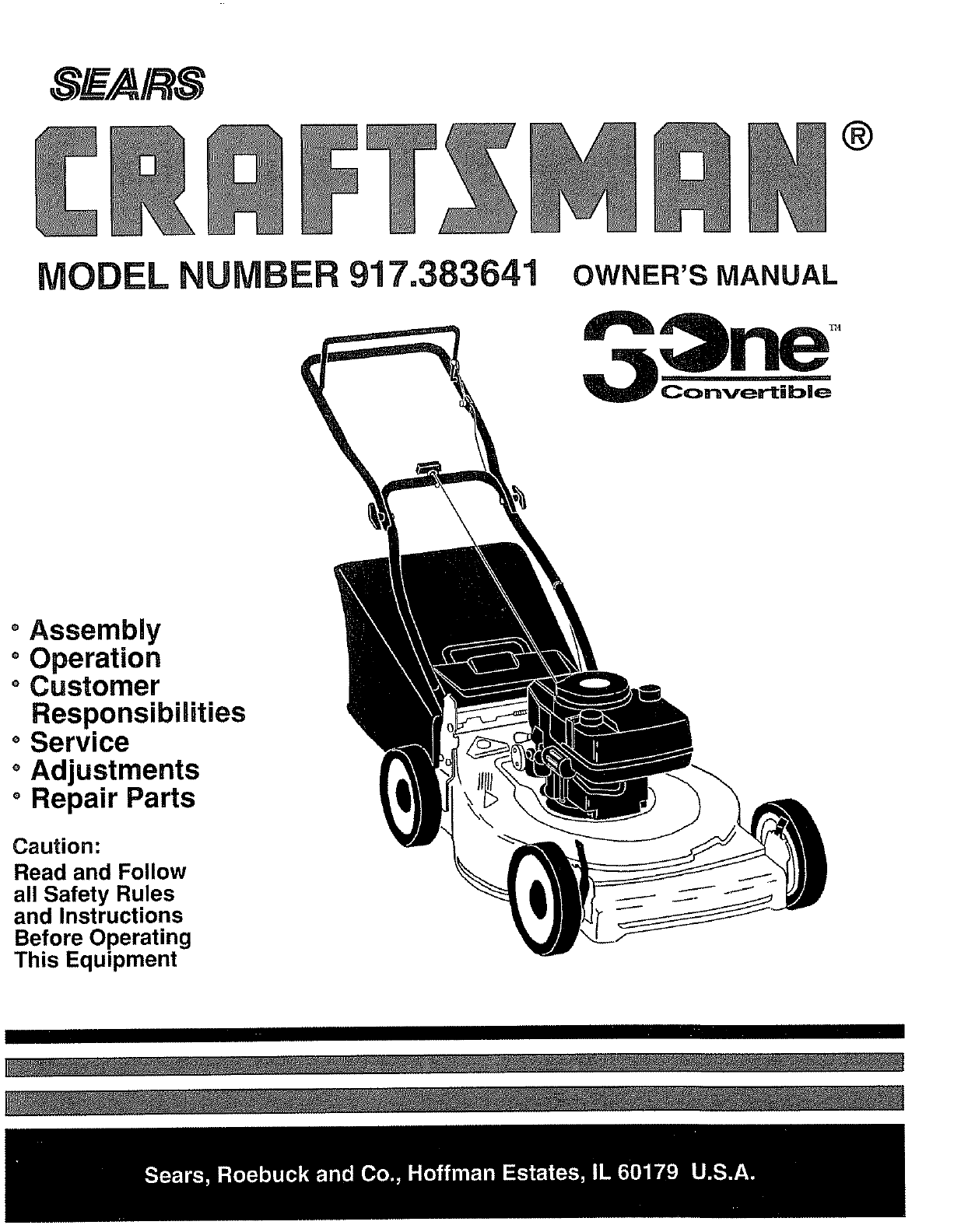 Craftsman 917383641 User Manual Lawn Mower Manuals And Guides L0807083 Self Propelled Model Number
