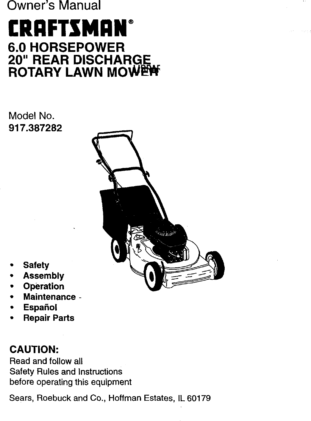 Craftsman 917387282 User Manual Rotary Mower Manuals And Guides 98120007 Engine Assembly Diagram Parts List For Lawnboy Walkbehindlawn