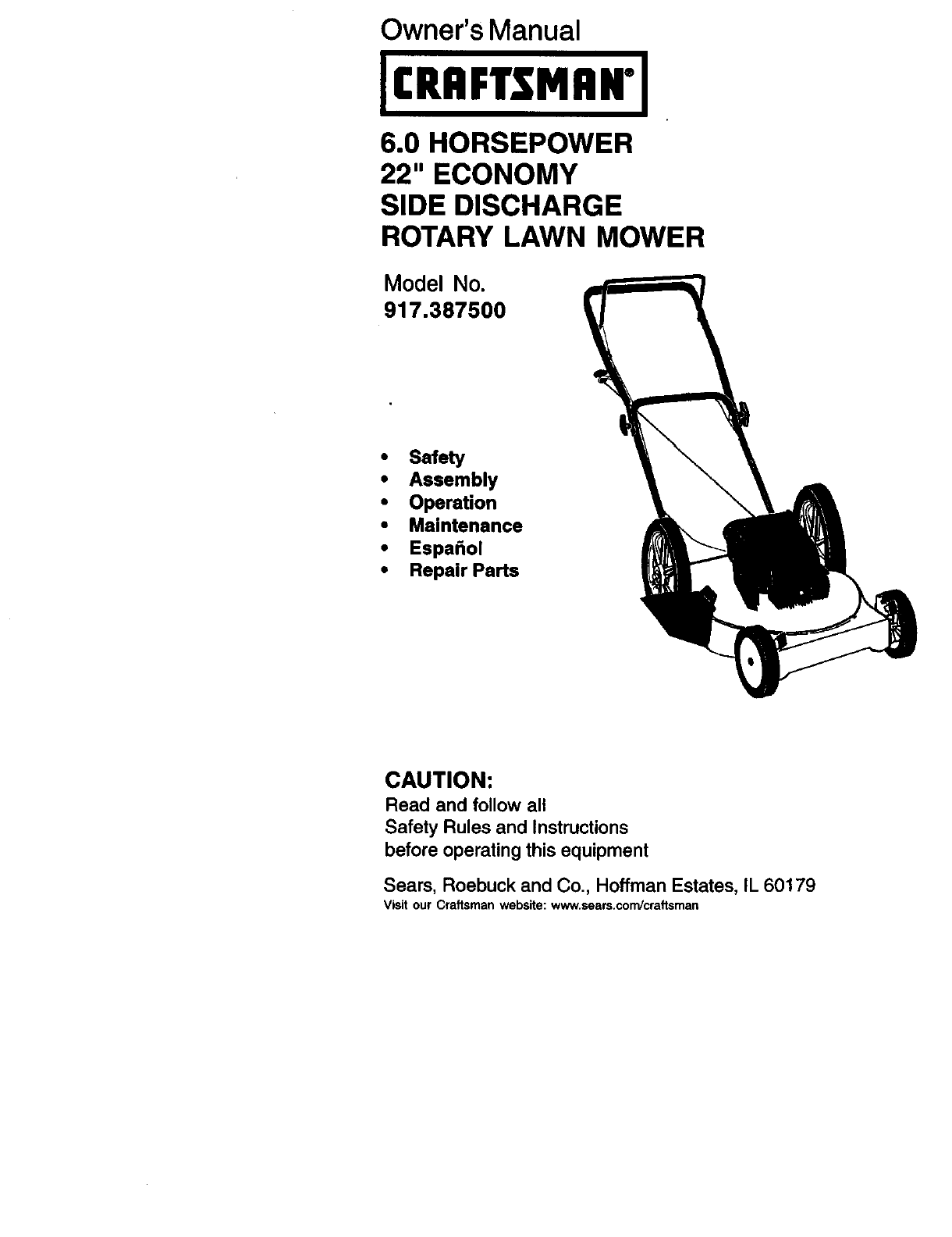 Craftsman 60 Lawn Mower Engine Diagram And Parts List For Walkbehindlawnmower 917387500 User Manual Gas Walk Behind Lawnmower Manuals Rh Usermanual Wiki Oil Capacity