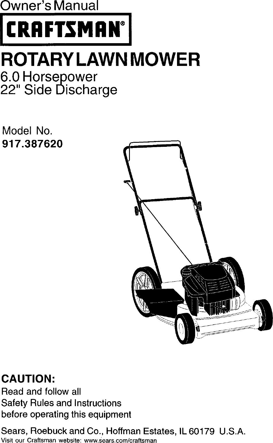 Craftsman Push Lawn Mower Owners Manual Satu Sticker Electric 3 In 1 Electrical Schematics Model 900370510 917387620 User Gas Walk Behind Lawnmower Manuals