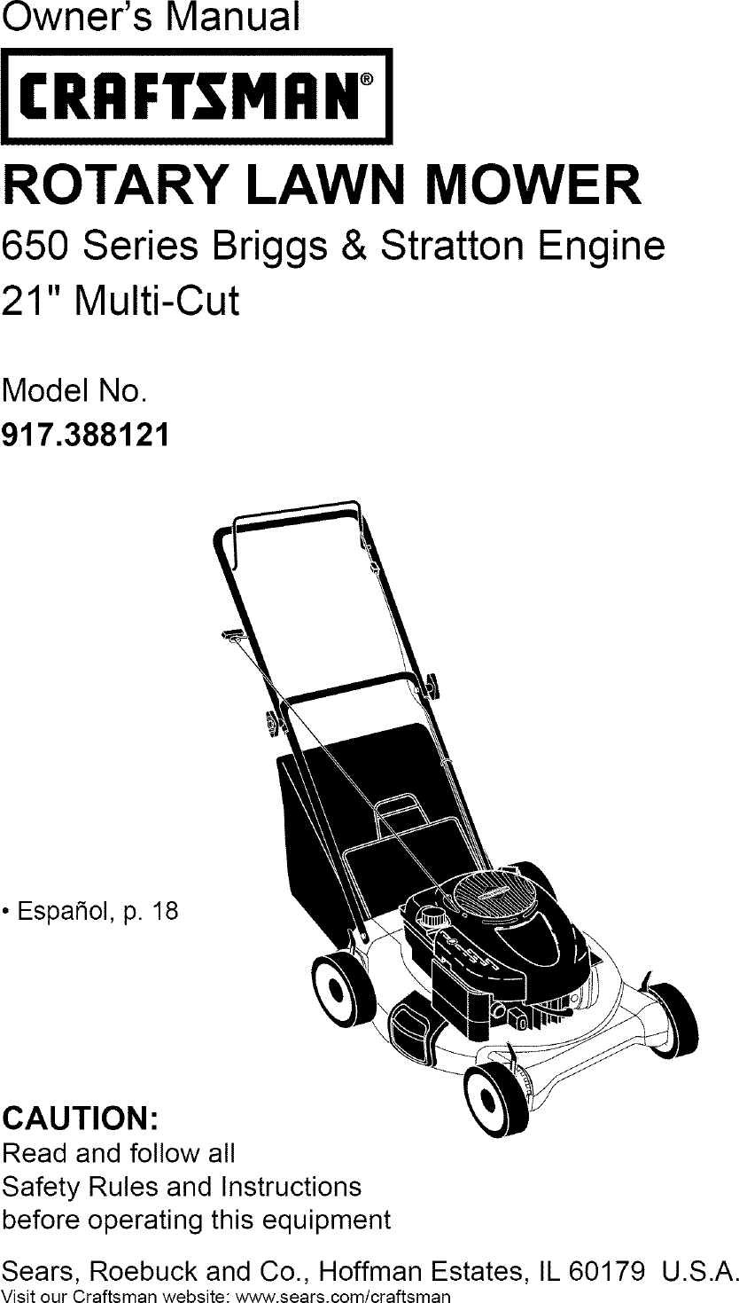 craftsman 917388121 user manual lawn mower manuals and guides l0702285