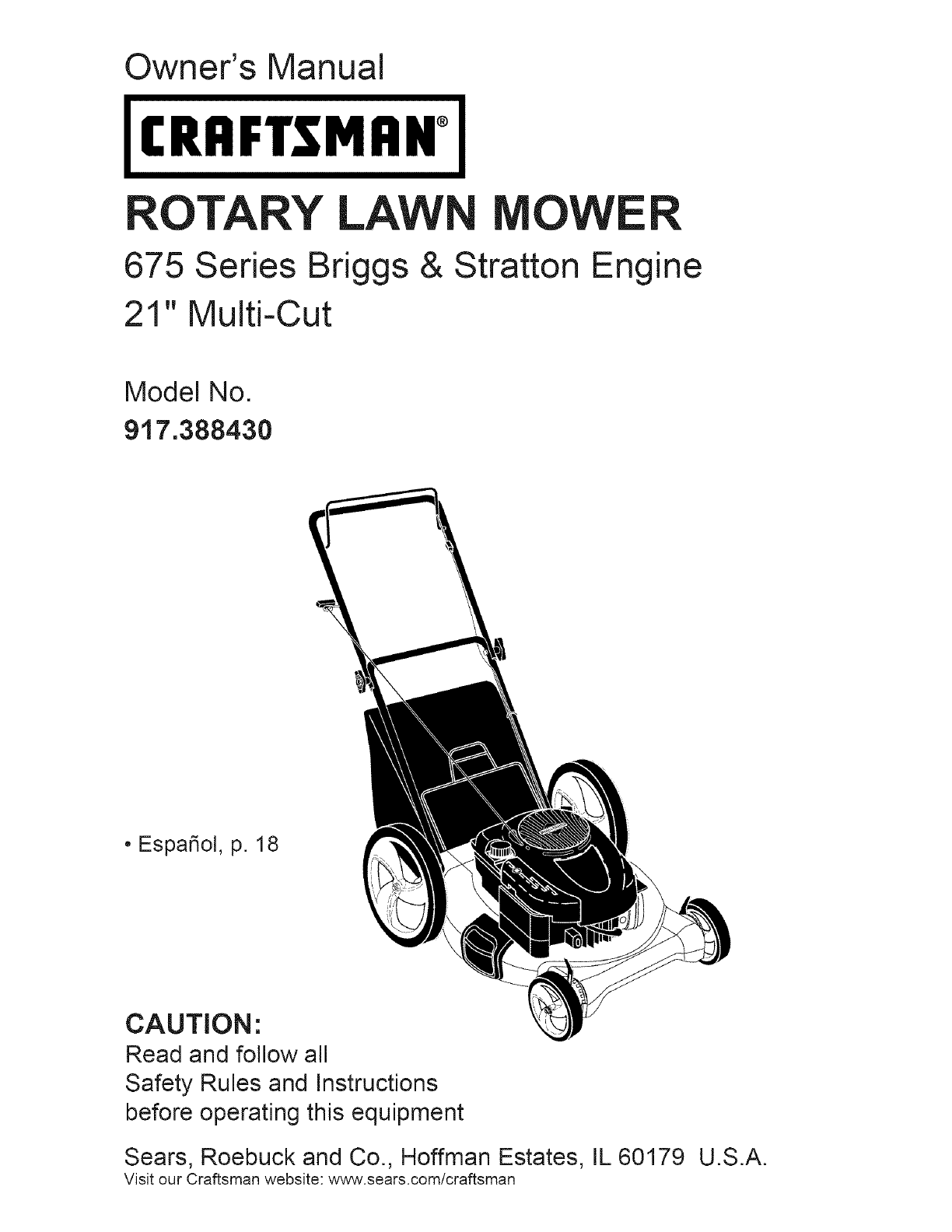 craftsman 917388430 user manual mower manuals and guides l0712546 rh usermanual wiki craftsman lawn mower owner's manual 675 series craftsman 675 lawn mower parts