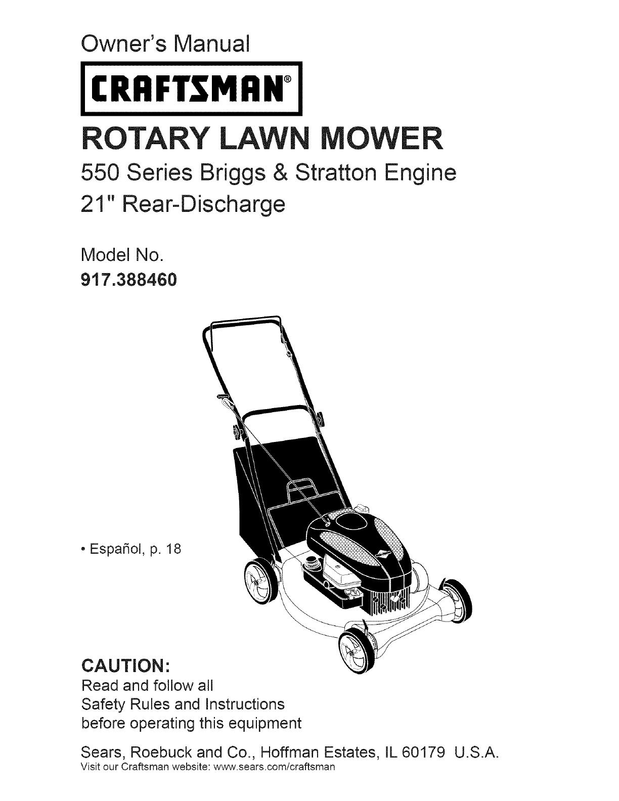 craftsman 917388460 user manual mower manuals and guides l0801262 rh usermanual wiki Craftsman Mower Manual Owner's Manual Craftsman Professional Multimeter User Manual