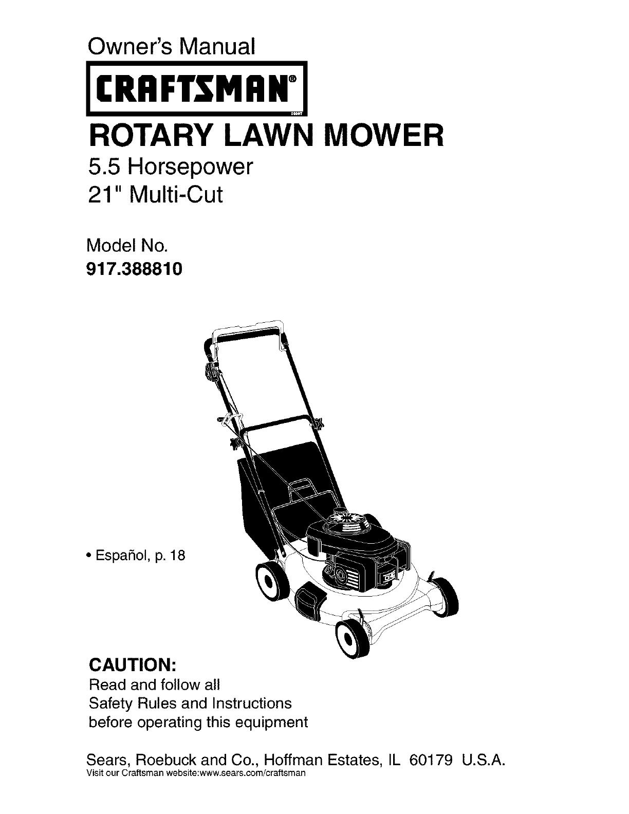 craftsman lawn mower parts manual pdf