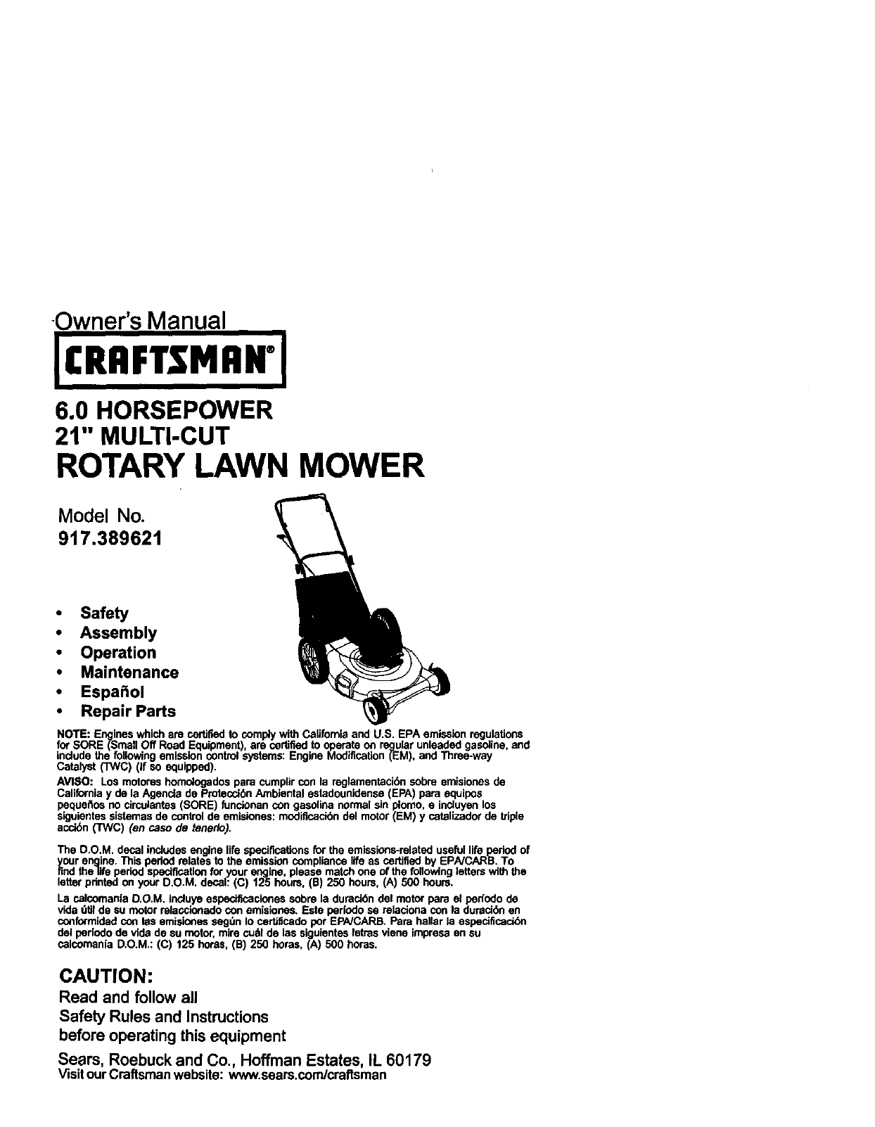 Craftsman 917389621 User Manual Gas Walk Behind Lawnmower Manuals Parts Diagram And List For Walkbehindlawnmower Guides L0103273