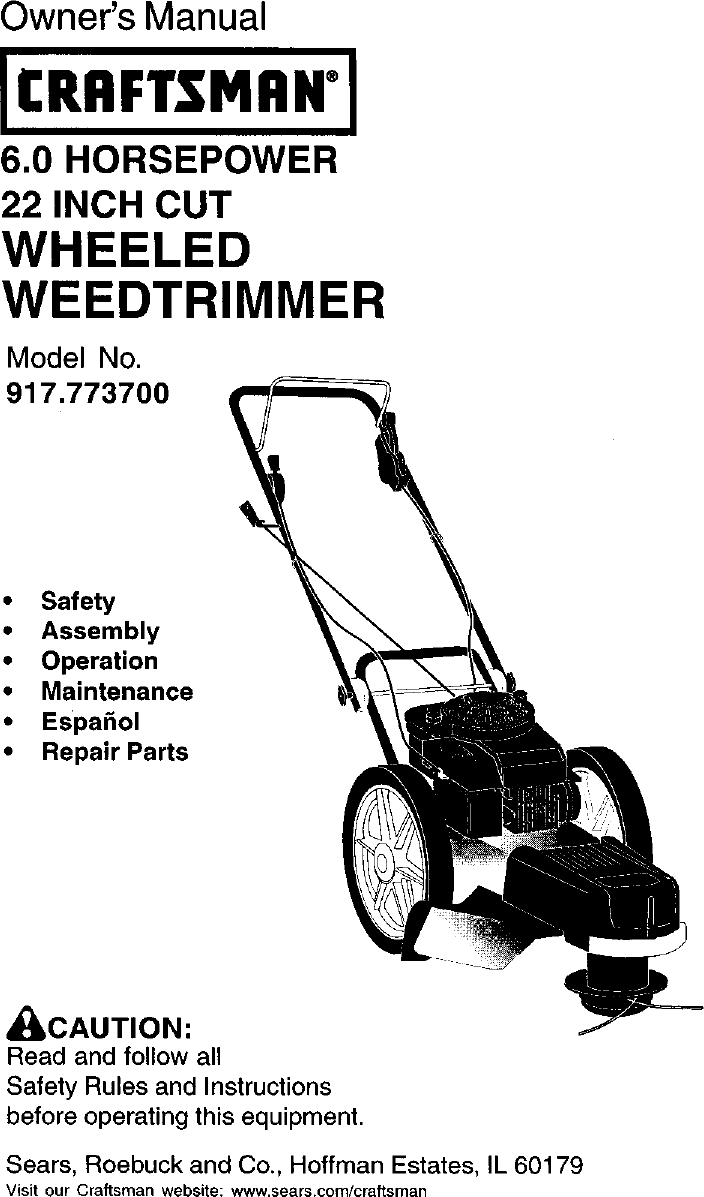 Craftsman 917773700 User Manual High Wheel Weed Trimmer