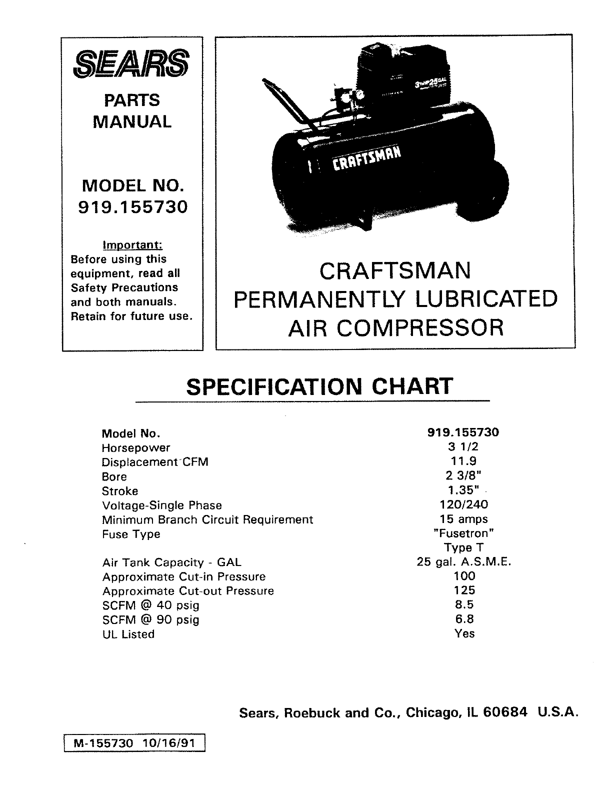 Craftsman 919153080 Parts List And Diagram Manual Guide