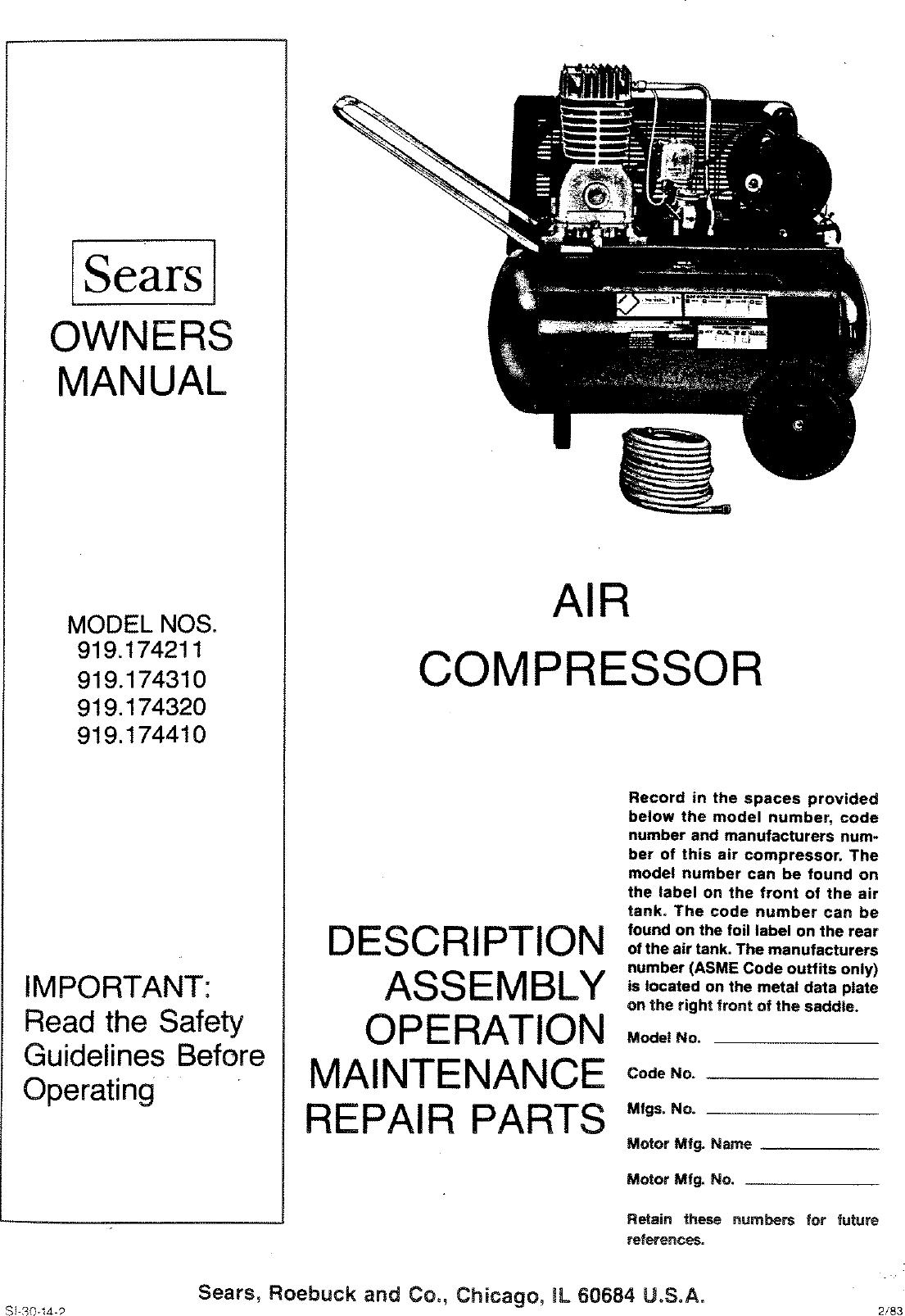 Craftsman 919174211 User Manual Air Compressor Manuals And Guides L0807612