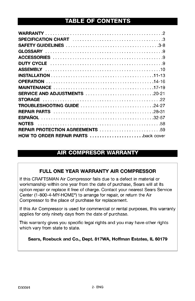 craftsman air compressor user manuals