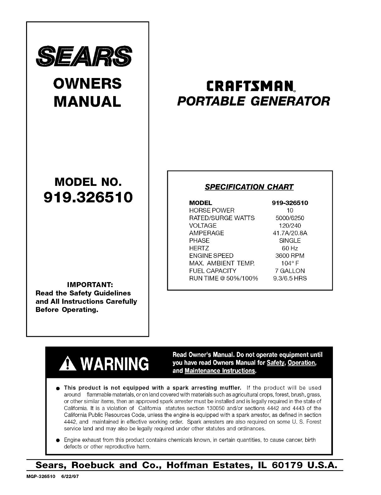 Craftsman Portable Generator Sears Wiring Diagram Diagram And Parts