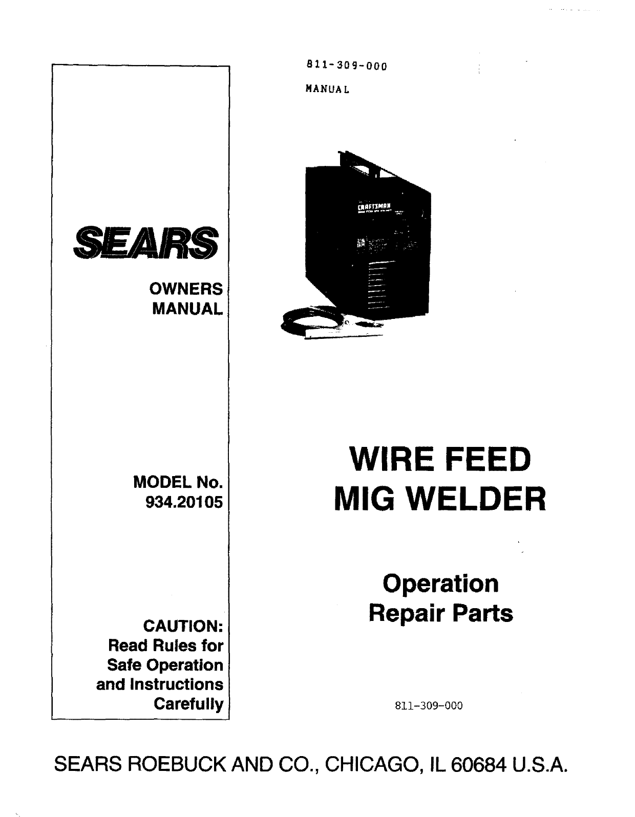 Craftsman 93420105 User Manual WELDER Manuals And Guides L0803454