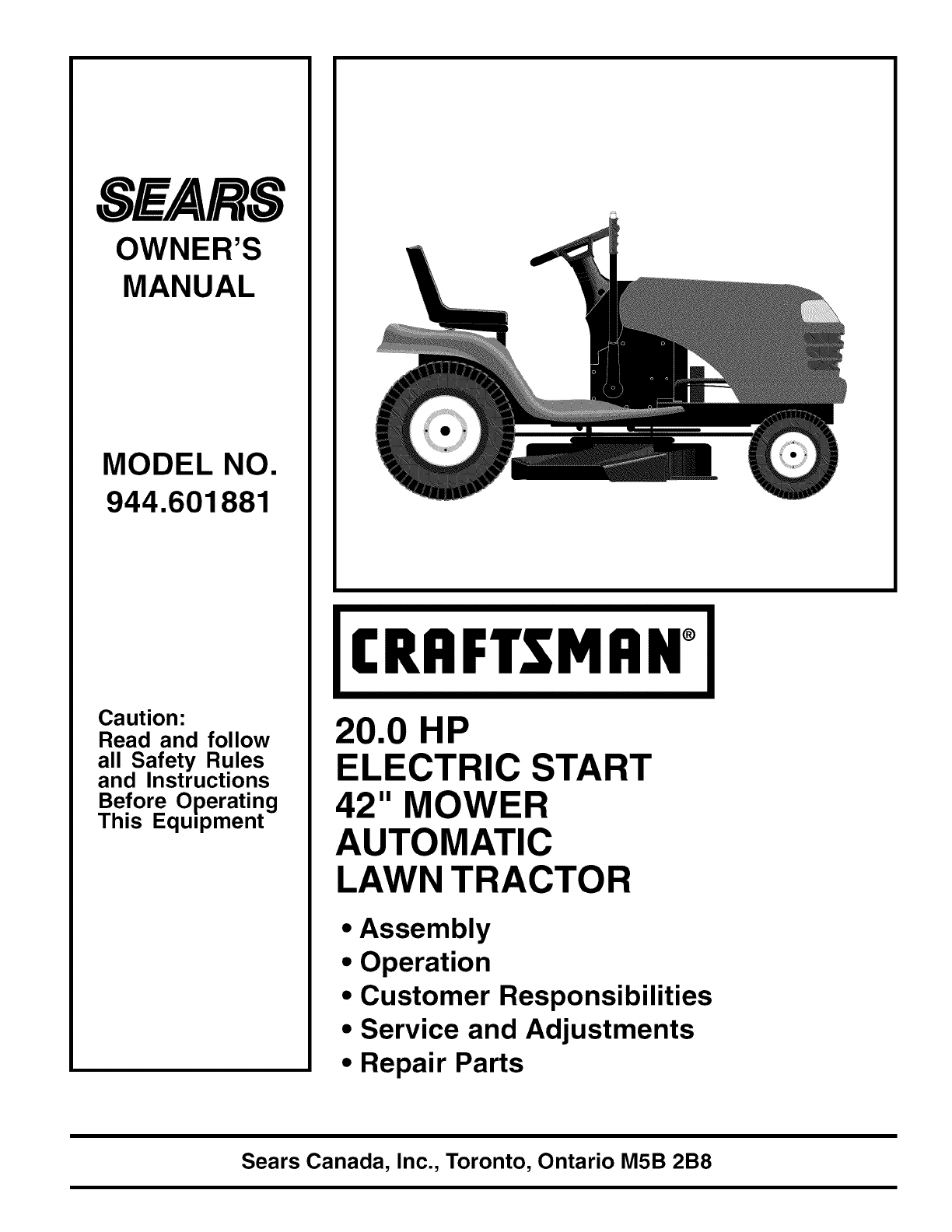 Craftsman 944601881 User Manual Tractor Manuals And Guides 1103676l Lawn Mower Engine Diagram Furthermore Parts