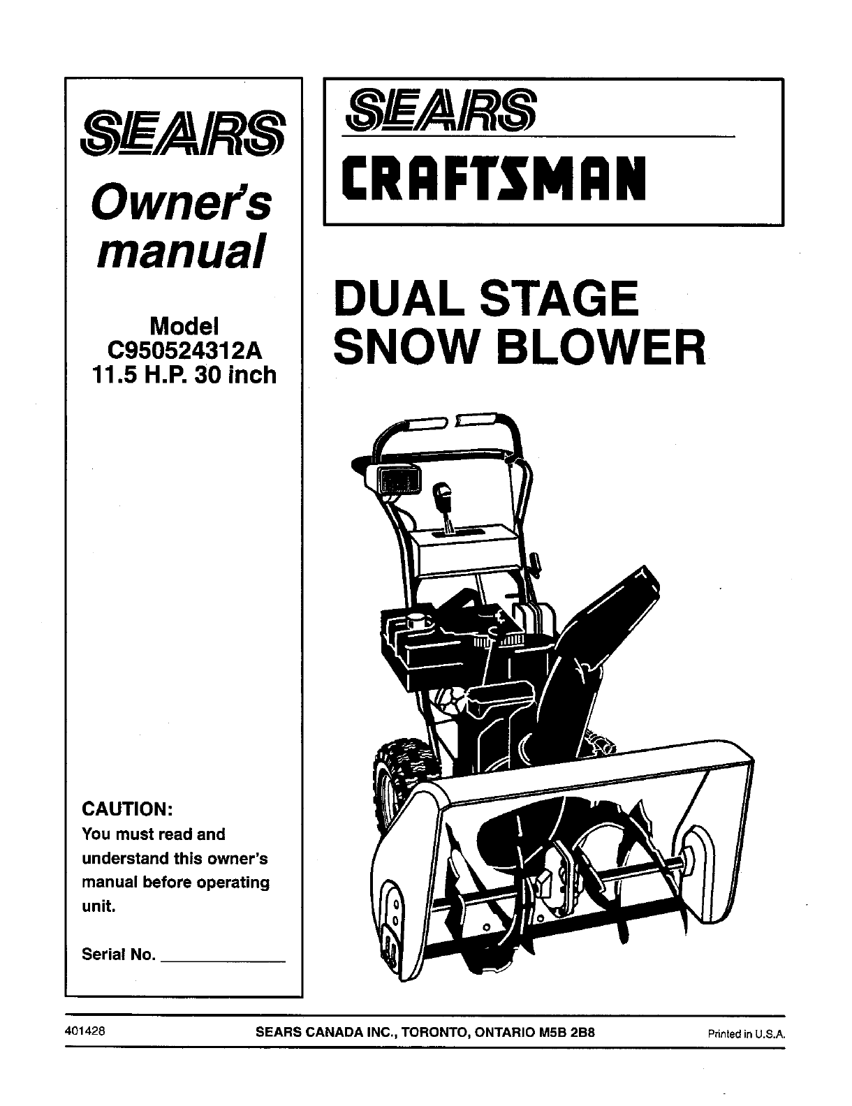 Craftsman C950524312a User Manual Dual Stage Snow Blower Manuals And Guides L0511284