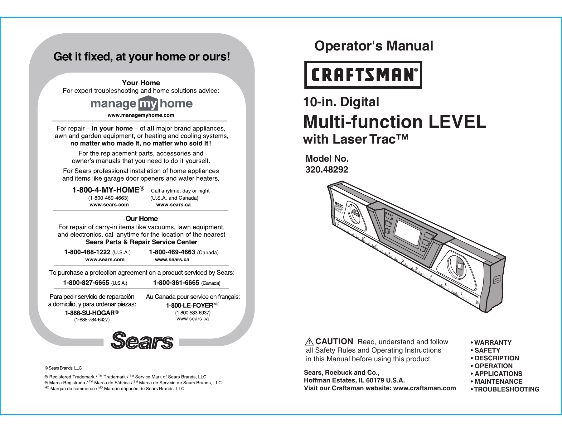 craftsman 10 in digital lasertrac level owners manual b f rh usermanual wiki Craftsman Model 48251 Palm Grip Laser Level Craftsman