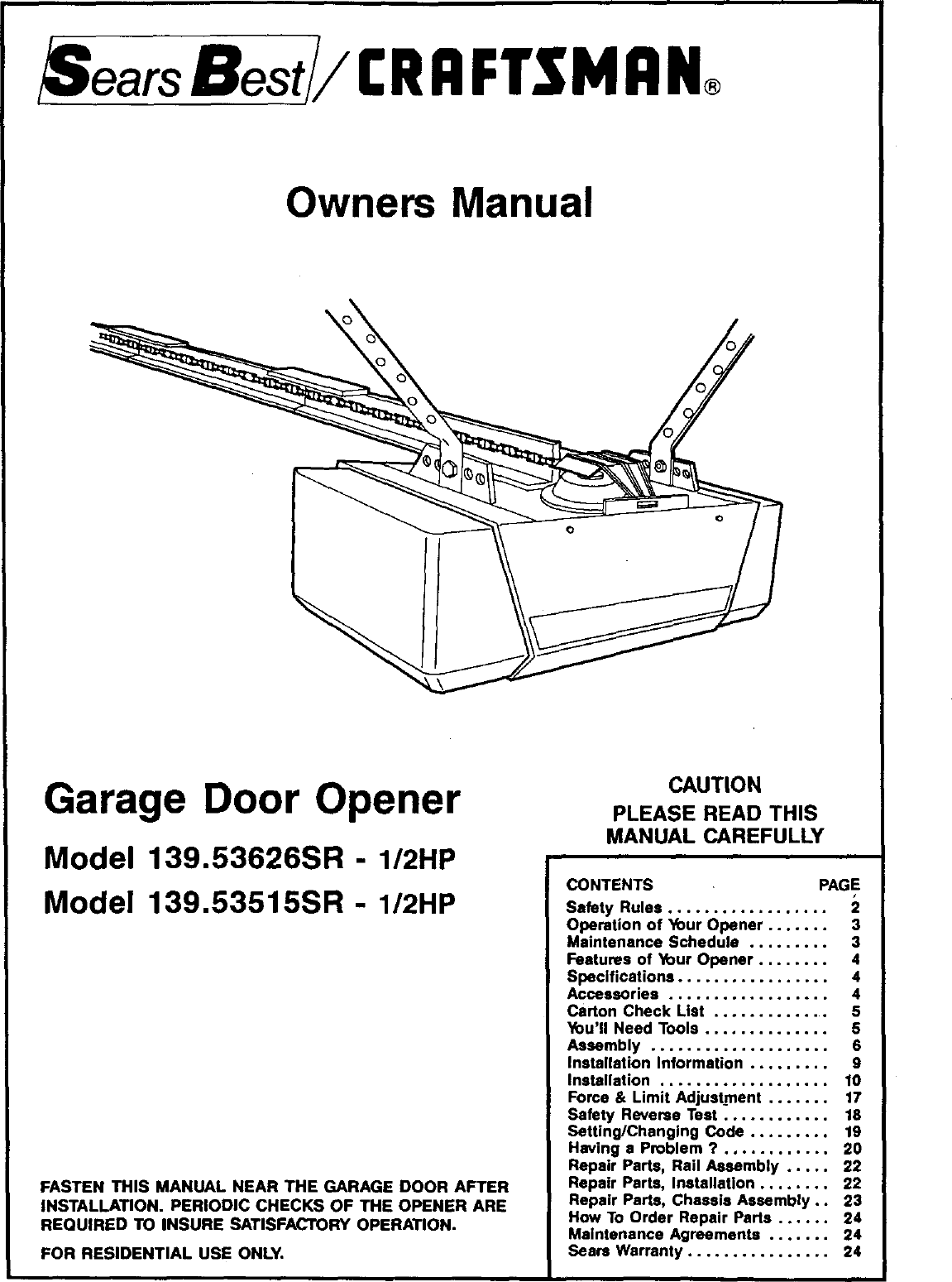 Craftsman 139 53626sr I 2hp Users Manual