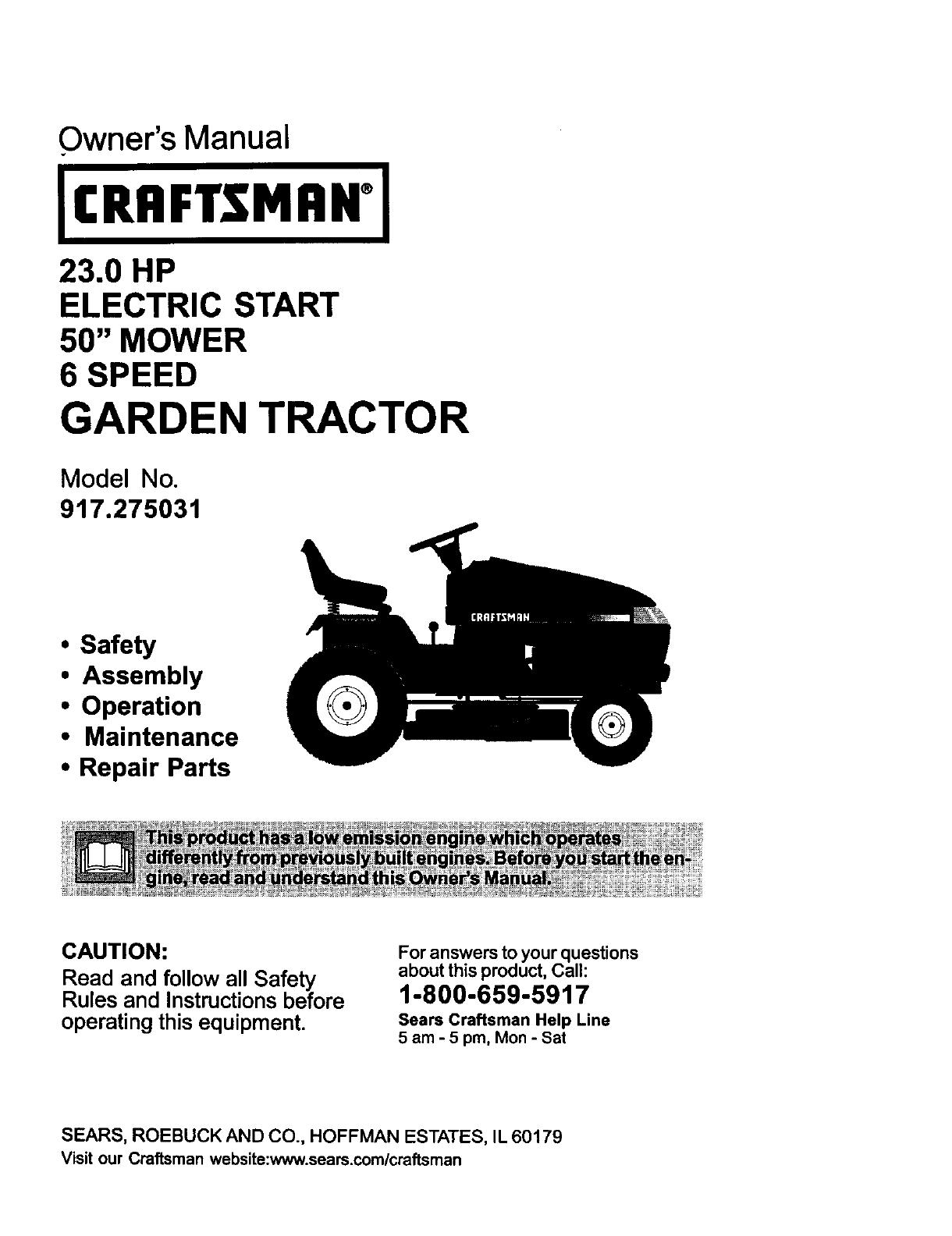 Craftsman 23 0 Hp 917 275031 Users Manual