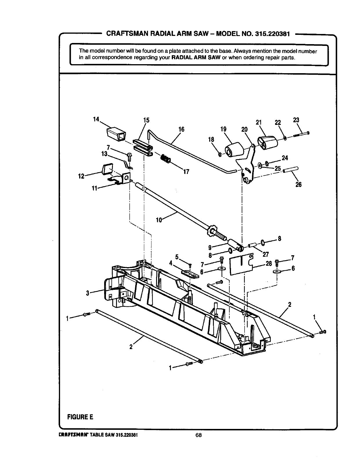Craftsman 315 220381 Users Manual Radial Arm Saw Wiring Diagram Model No 315220381