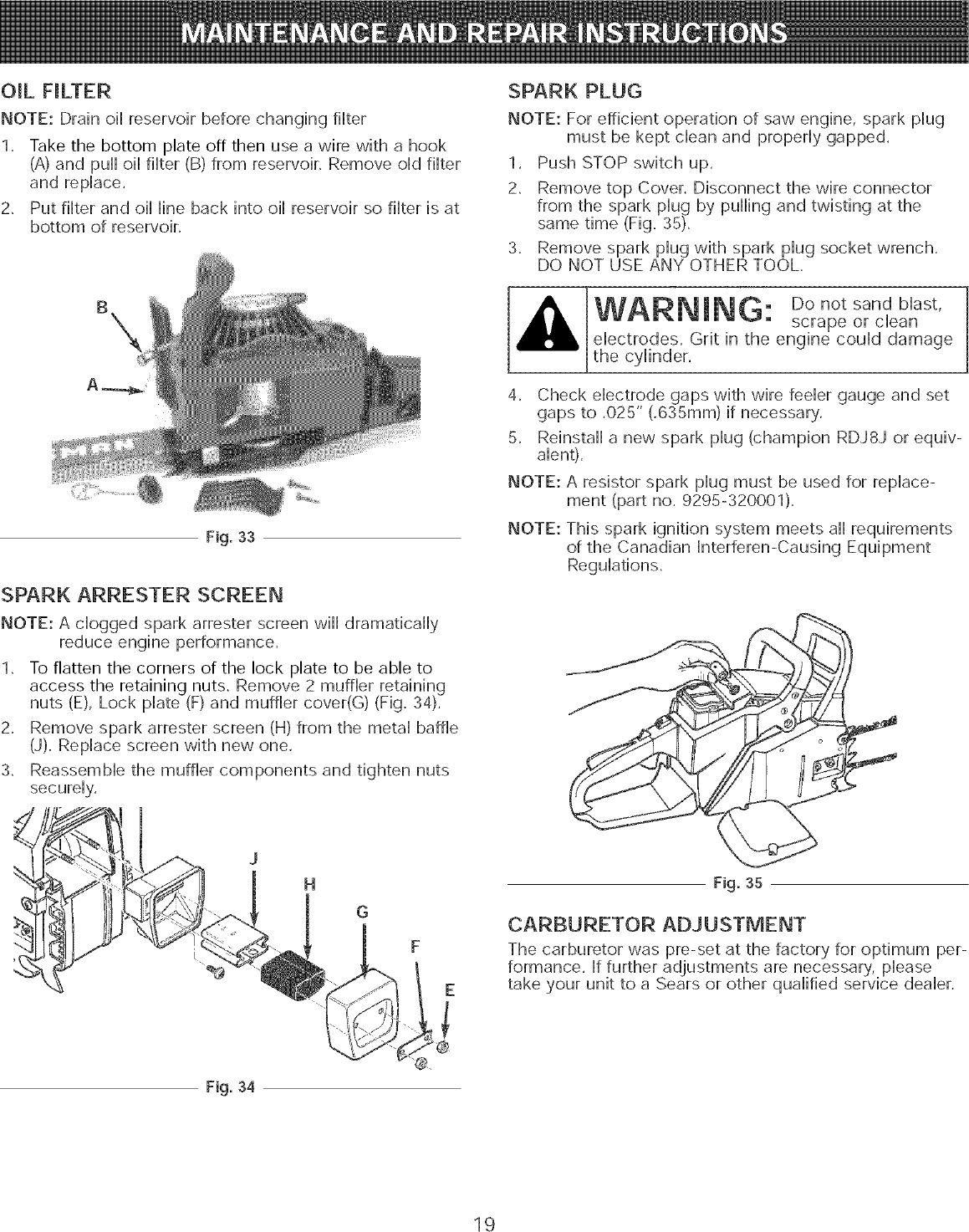 Craftsman 316 35084 Users Manual