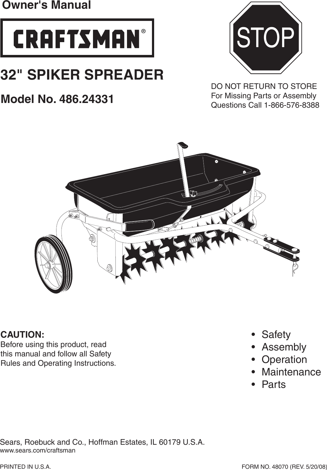 craftsman 32 in spread width aerator spreader combo 100 lb capacity owners manual