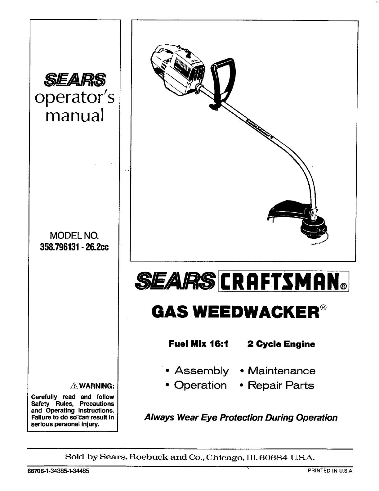 Craftsman 358 796131 26 2cc Users Manual