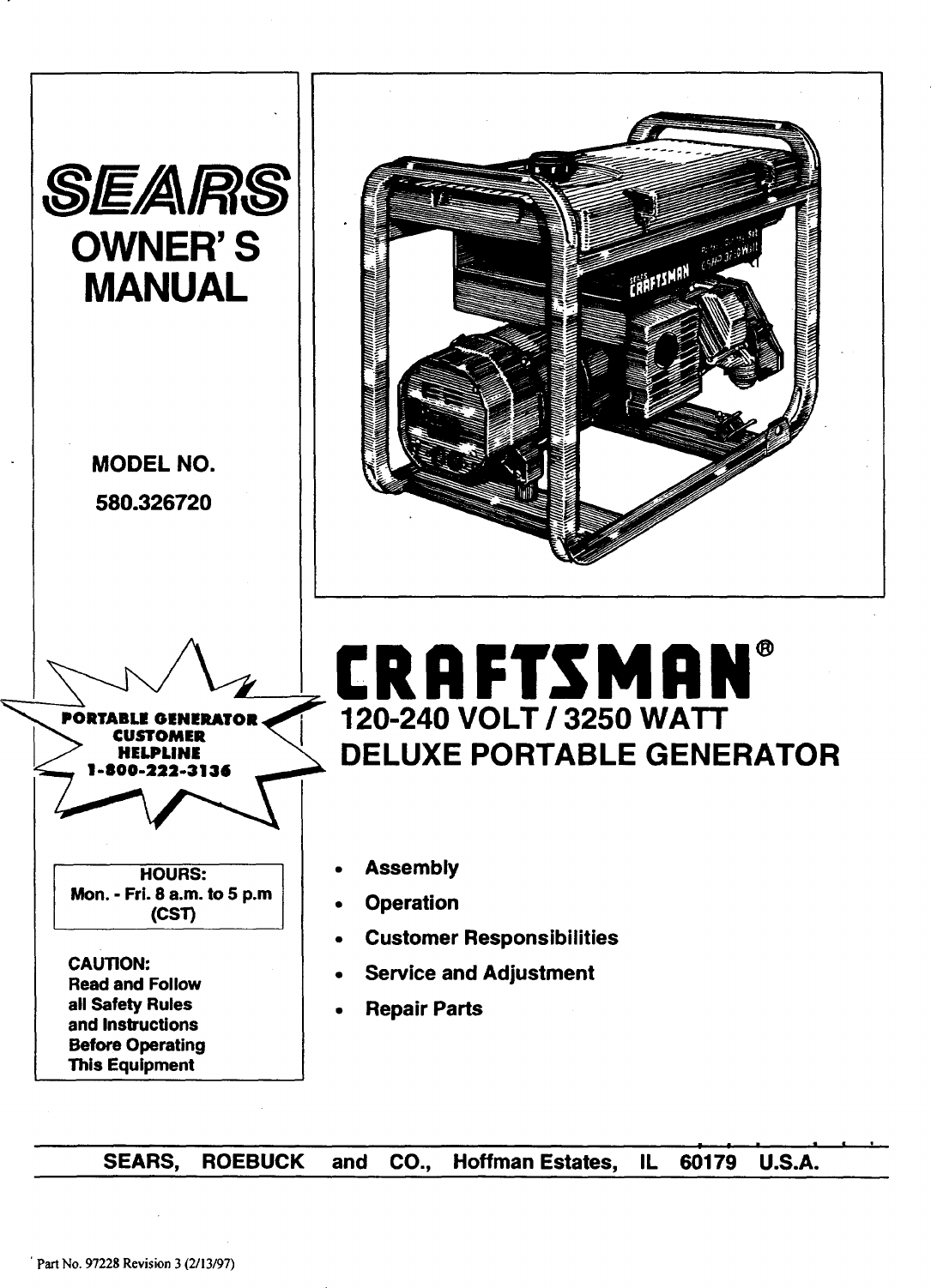 Craftsman 58031810 Generator Parts Manual Guide