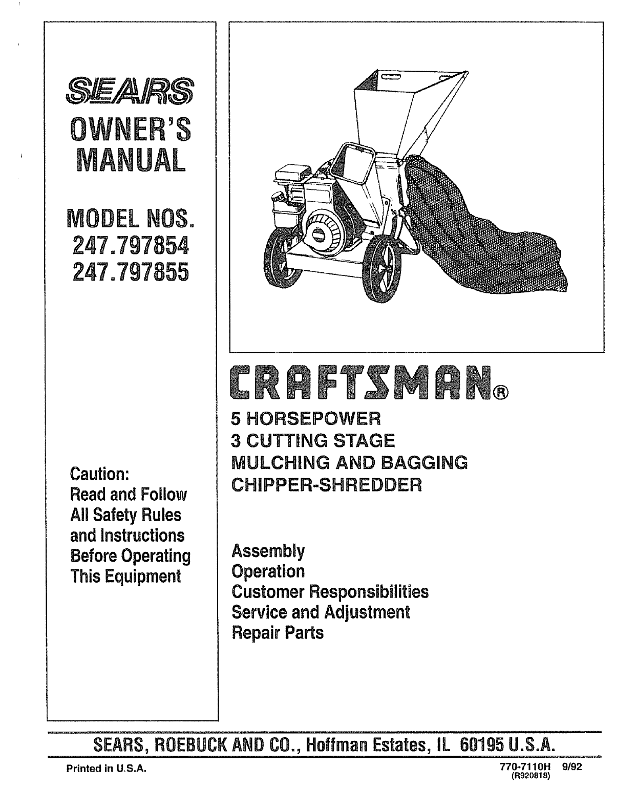 Craftsman 79785 Operators Manual