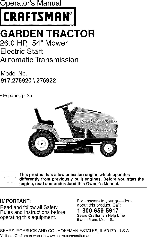 WRG-6653] Wiring Diagram For Craftsman 917 276922 Riding