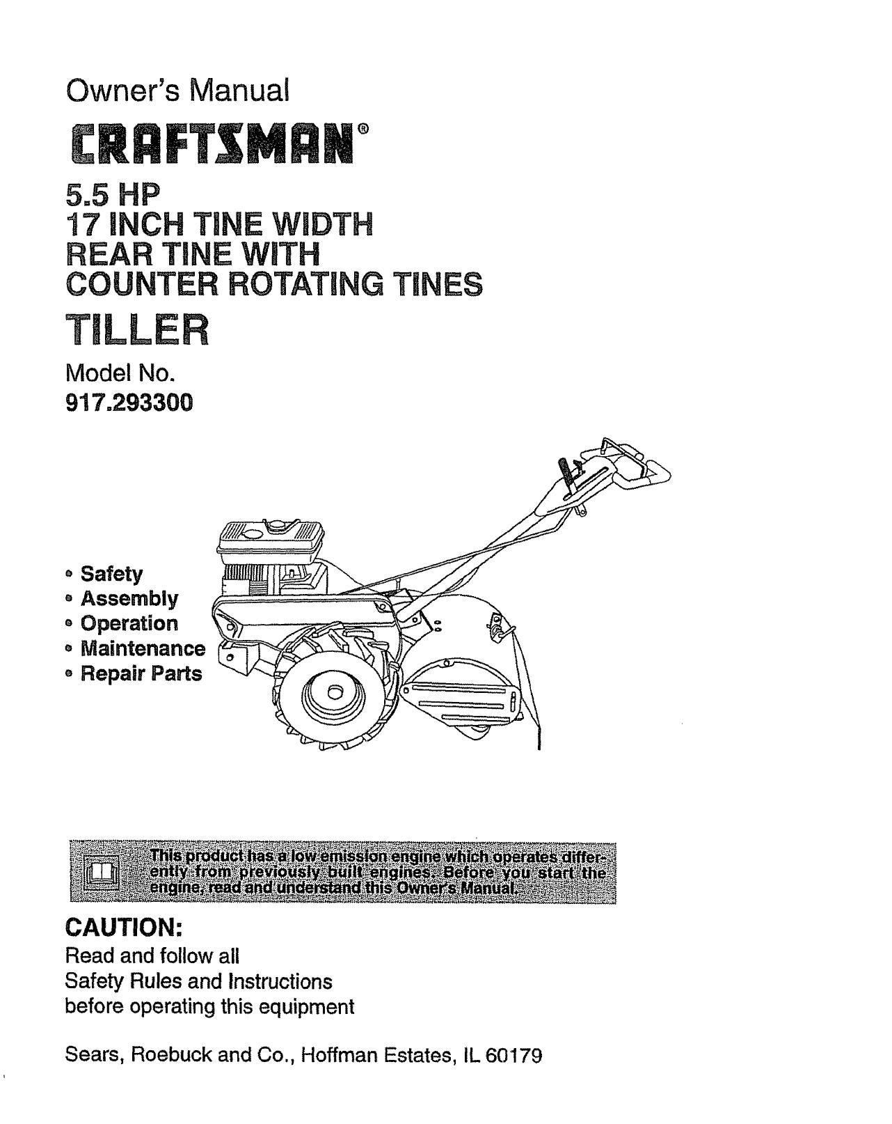 Craftsman 917 2933 Users Manual