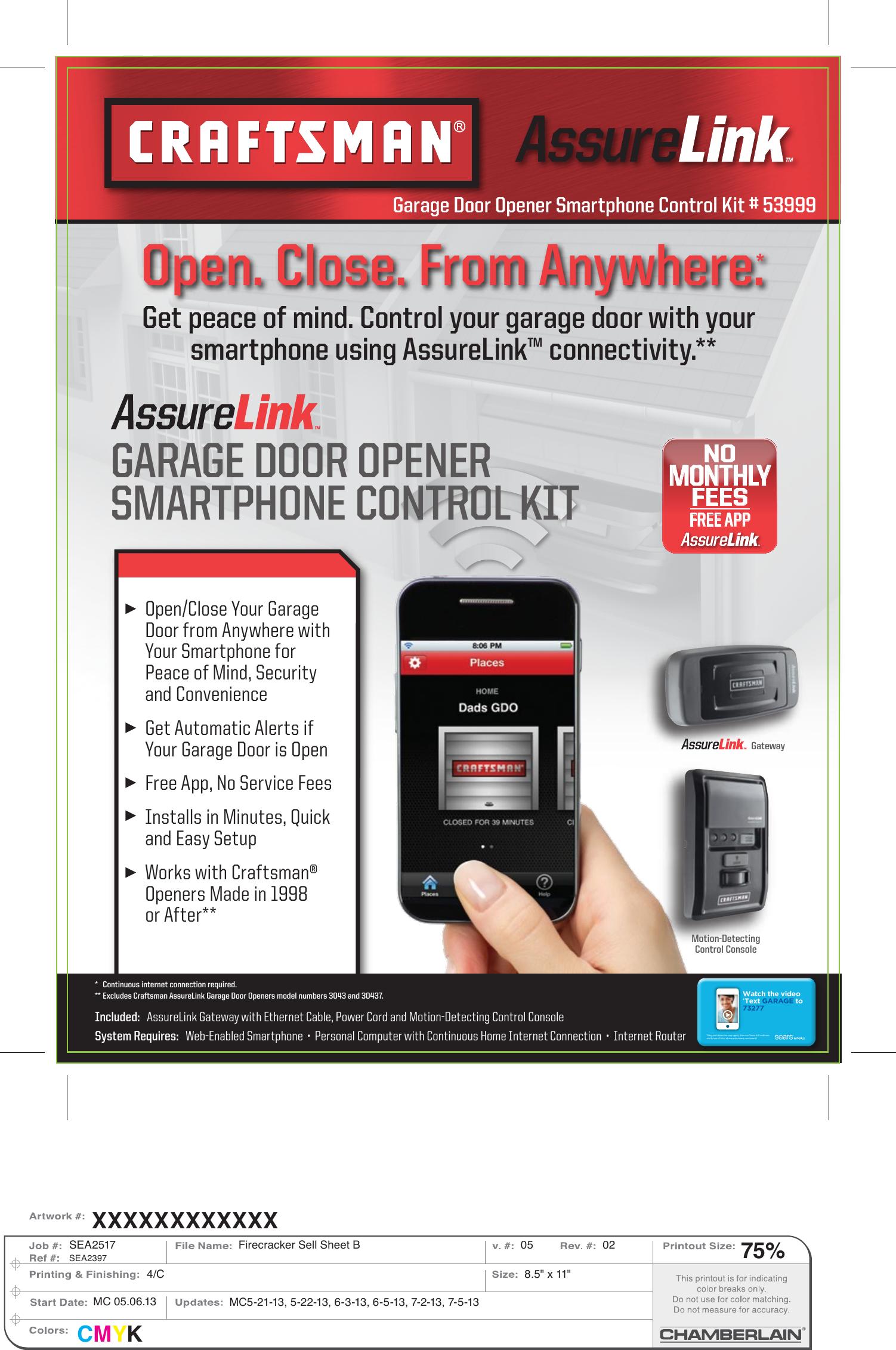 Craftsman Assurelink Garage Door Opener Smartphone Control