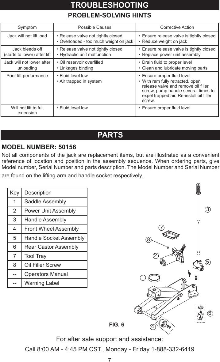 Craftsman Floor Jack 50156 Users Manual M0