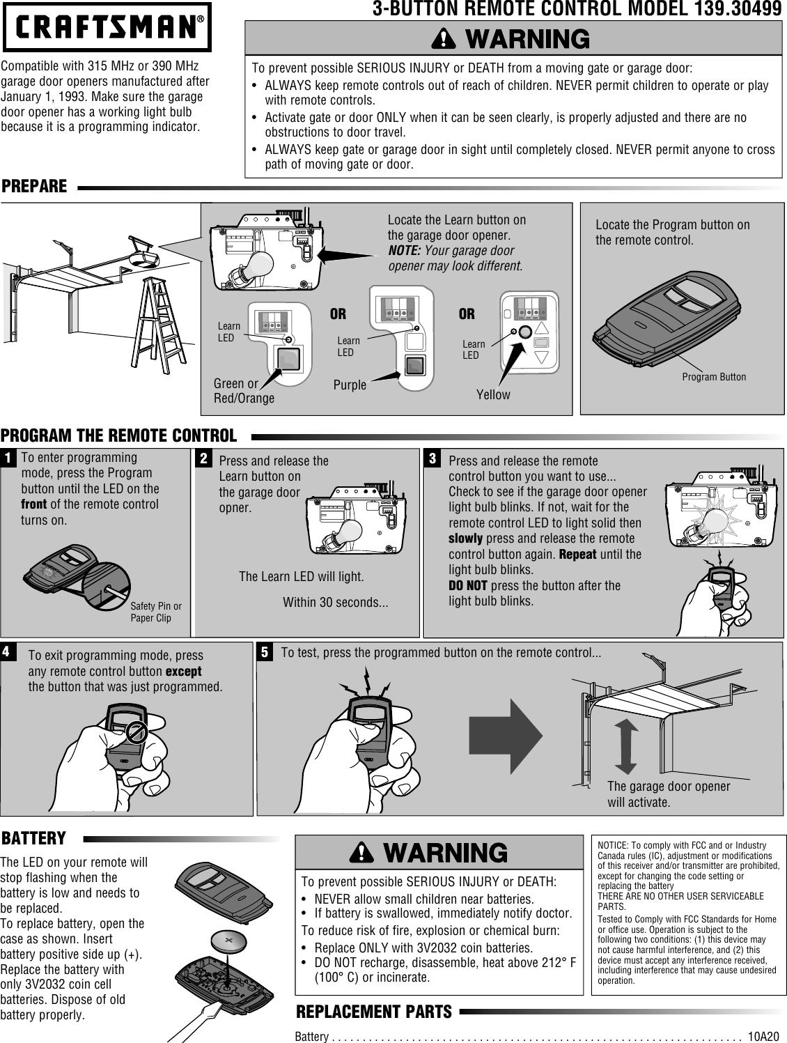 Craftsman Garage Door Opener 3 Function Compact Remote Control Owners Manual