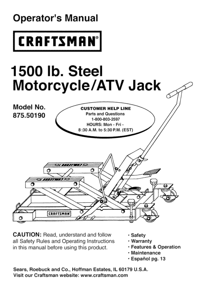 Craftsman Motorcycle Atv Jack Owners Manual