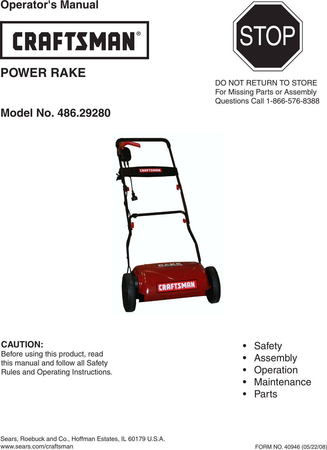 Craftsman Power Rake 486 2928 Users Manual