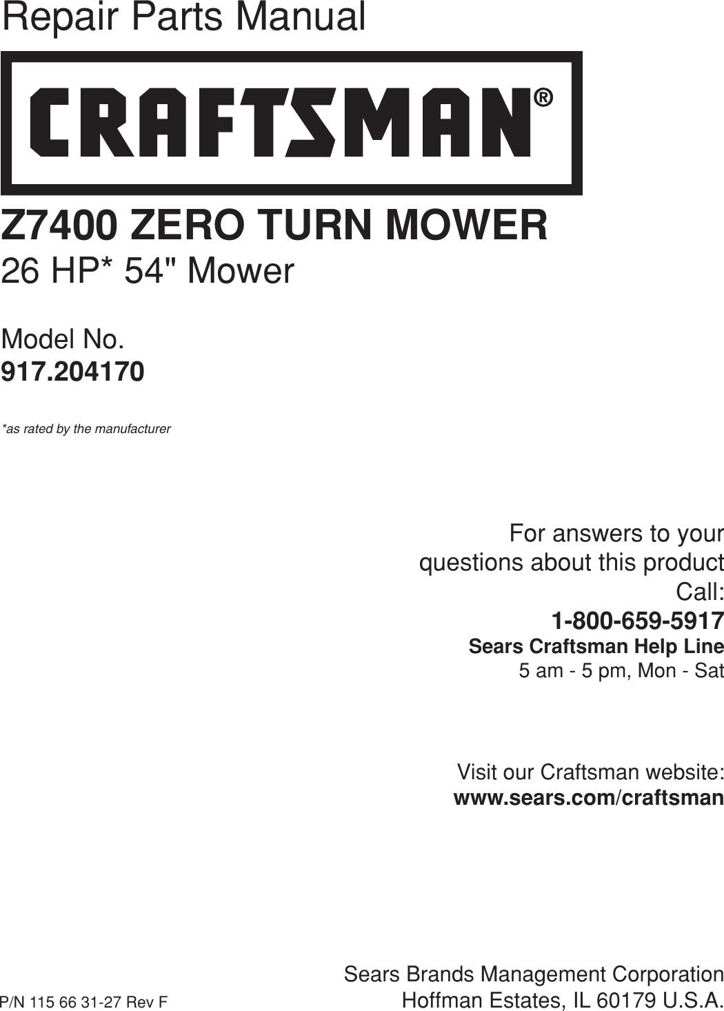 Craftsman Pro Series 54 26 Hp V Twin Z7400 Zero Turn Riding