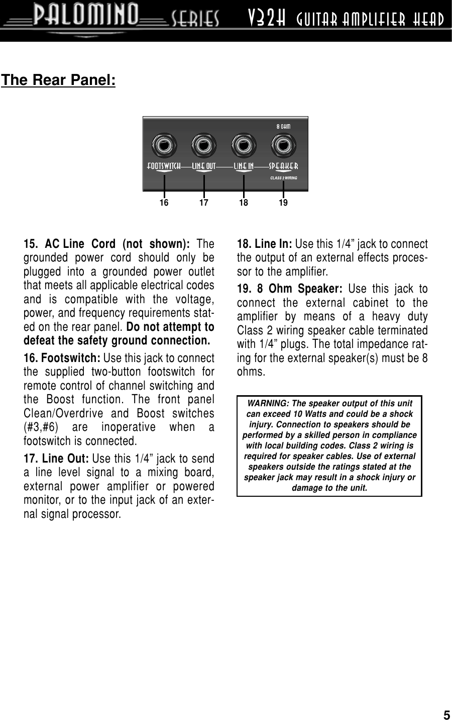 Crate Amplifiers Palomino V32h Users Manual External Speaker Jack Wiring Page 5 Of 12