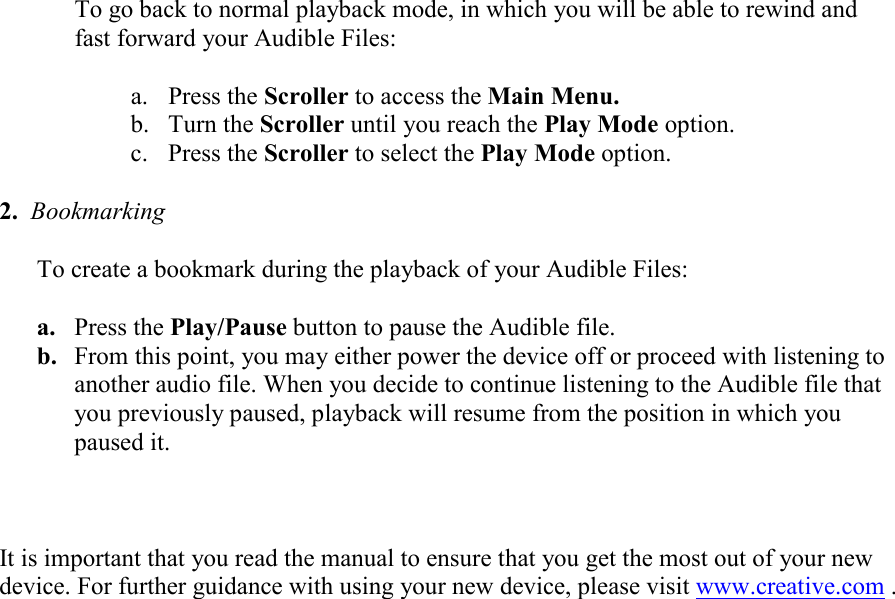 Creative Mp3 Player N200 Users Manual To Play Back Your Audible S On
